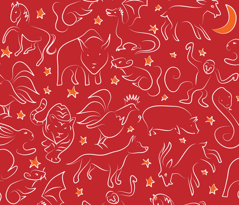 Zodiac zoo fabric by ebygomm on Spoonflower - custom fabric