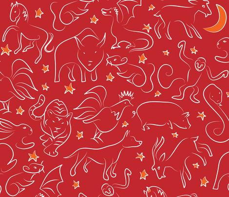 Zodiac zoo fabric by ebygomm on Spoonflower - custom fabric