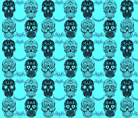 TEAL SUGAR SKULLS fabric by bluevelvet on Spoonflower - custom fabric