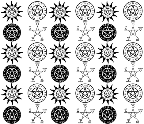 WICCAN PENTAGRAM fabric by bluevelvet on Spoonflower - custom fabric