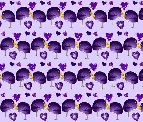 PURPLE BIRDS IN LOVE fabric by bluevelvet on Spoonflower - custom fabric