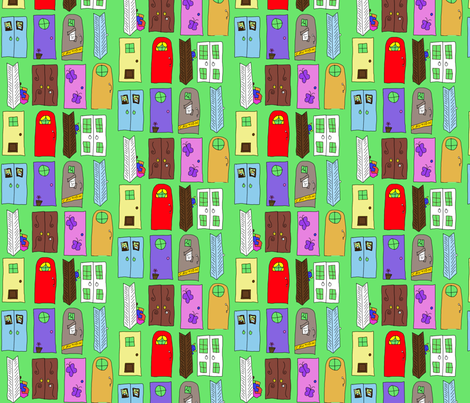 """Monsters Inc"" Doors fabric by squeaky_designs on Spoonflower - custom fabric"