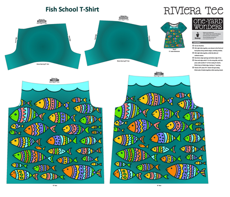Fish School One Yard Wonders Riviera Tee Shirt fabric by kdl on Spoonflower - custom fabric