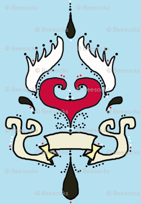 Tattoo damask stripe, heart with wings