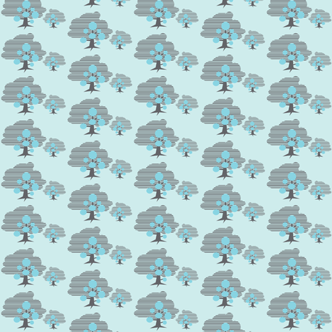 two trees blue fabric by silverfishcircus on Spoonflower - custom fabric