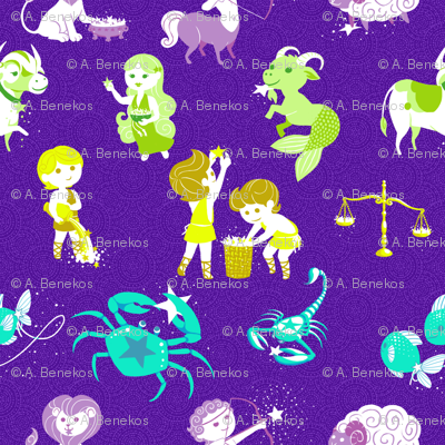 Zodiac fabric siya spoonflower for Astrology fabric