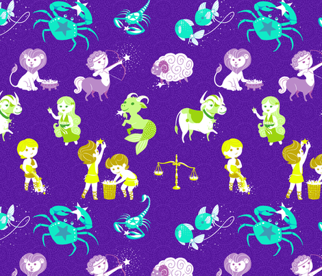 Zodiac fabric by siya on Spoonflower - custom fabric