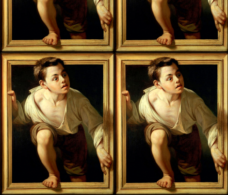 Escaping Criticism by Pere Borrell del Caso, 1874 fabric by peacoquettedesigns on Spoonflower - custom fabric