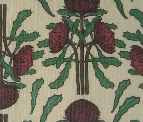 Dark red waratahs on ivory