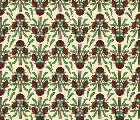 Dark red waratahs on ivory fabric by su_g on Spoonflower - custom fabric