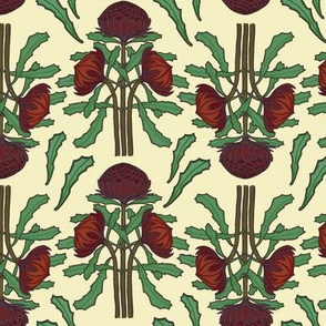 Dark red waratahs on ivory by Su_G