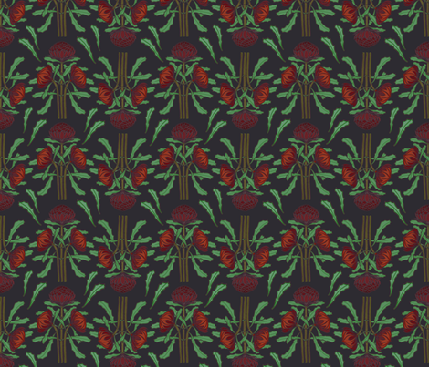 Dark red waratahs on dark gray fabric by su_g on Spoonflower - custom fabric