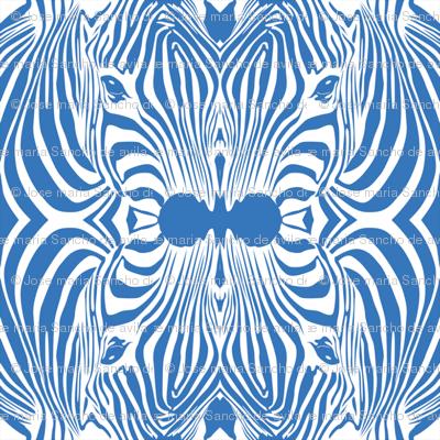 Blue Lovely afrikaan Zebra seamless pattern
