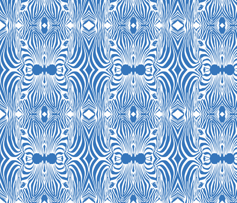 Blue Lovely afrikaan Zebra seamless pattern fabric by jamesdean on Spoonflower - custom fabric