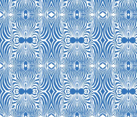 Blue Lovely afrikaan Zebra seamless pattern fabric by jamesdean on Spoonflower - custom fabric