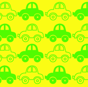 Yellow & green funny cars seamless pattern