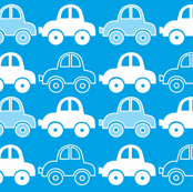 Blue funny cars seamless pattern