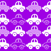 Purple funny cars seamless pattern
