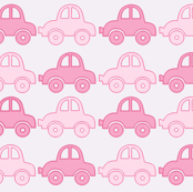 Pink funny cars seamless pattern