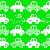 Green funny cars seamless pattern