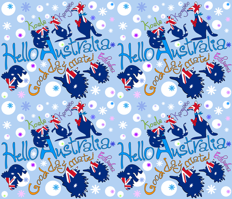 Hello-Australia-oz-animals fabric by cutiecat on Spoonflower - custom fabric