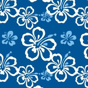 Blue Hawaiian Flowers Pattern
