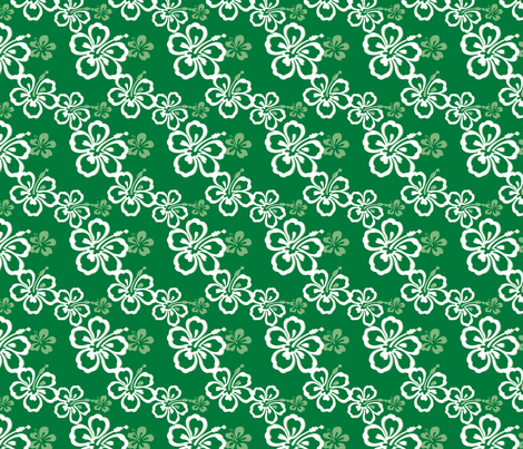 Green Hawaiian Flowers Pattern fabric by jamesdean on Spoonflower - custom fabric