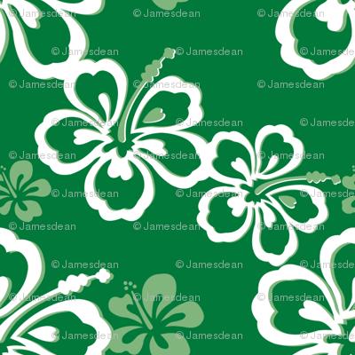 Green Hawaiian Flowers Pattern