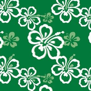 Green Hawaiian Flowers Pattern