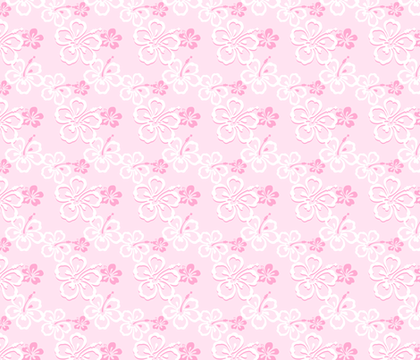 Pink  Hawaiian Flowers Pattern fabric by jamesdean on Spoonflower - custom fabric
