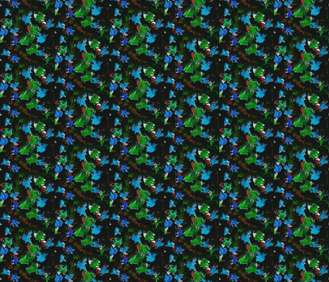 Blue and Green Fractal Leaves on Black
