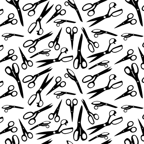 black scissors fabric by elinvanegmond on Spoonflower - custom fabric