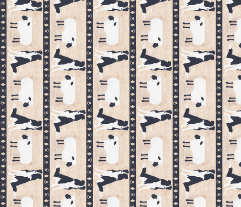 Primitive Border Collie and sheep border - Large length fabric by rusticcorgi on Spoonflower - custom fabric