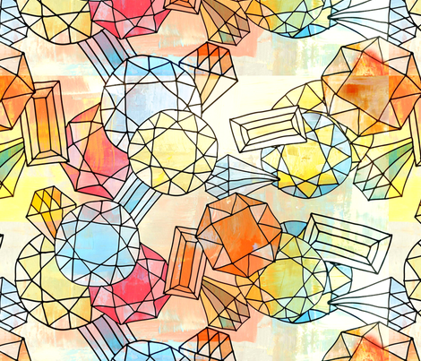 Zodiac Gemstones - Light fabric by owlandchickadee on Spoonflower - custom fabric
