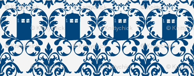 Phone Box Damask Blue