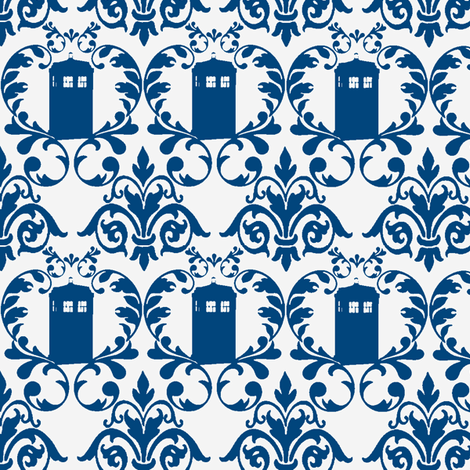 Phone Box Damask Blue fabric by knittychick on Spoonflower - custom fabric