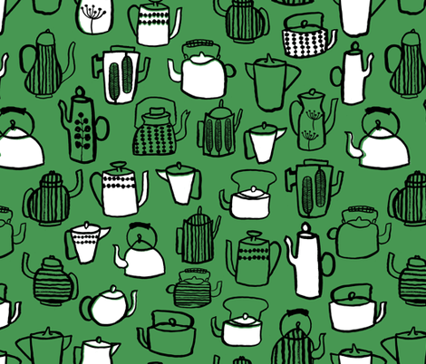 Teapots - Kelly Green/White/Black by Andrea Lauren fabric by andrea_lauren on Spoonflower - custom fabric