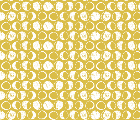 Moon Phases - Mustard/White by Andrea Lauren fabric by andrea_lauren on Spoonflower - custom fabric