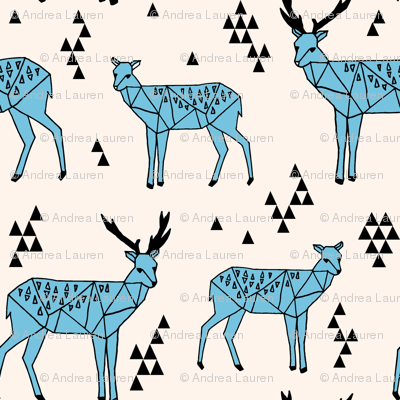 Geometric Deer - Champagne / Tiffany Blue