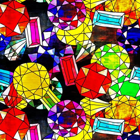 Zodiac Gemstones-Small (Deep 1) fabric by owlandchickadee on Spoonflower - custom fabric