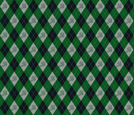 Slytherin House Argyle fabric by crumpetcouture on Spoonflower - custom fabric