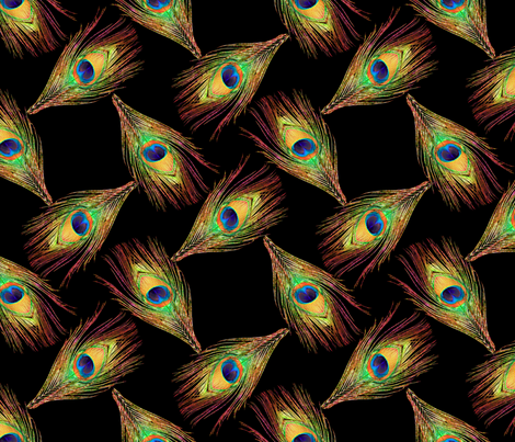 Peacock Feathers - Single - Weave fabric by bonnie_phantasm on Spoonflower - custom fabric