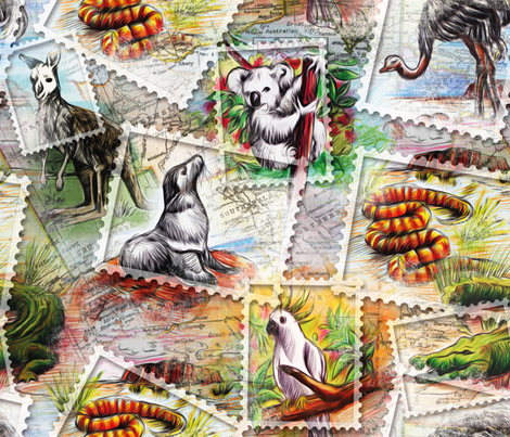 Australian stamps fabric by cassiopee on Spoonflower - custom fabric