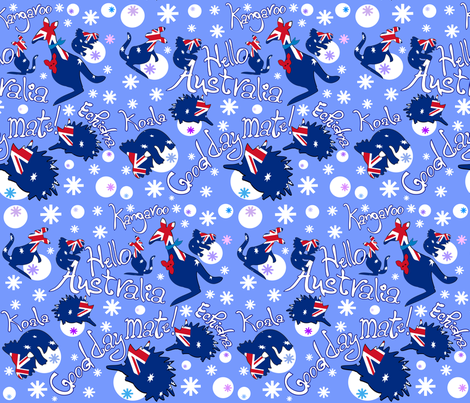 Hello Australia Aussie Animals Good day mate fabric by cutiecat on Spoonflower - custom fabric