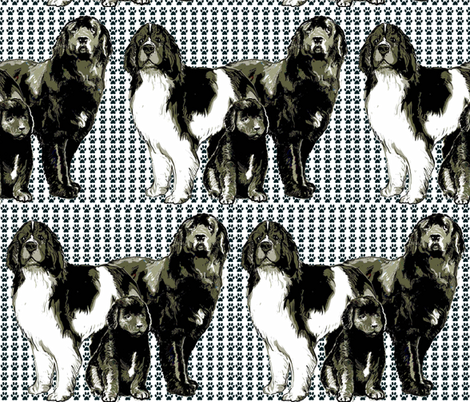 Newfoundland dog family fabric
