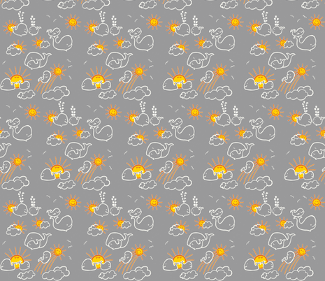 You Are My Sunshine Whales in Grey and Yellow fabric by kbexquisites on Spoonflower - custom fabric