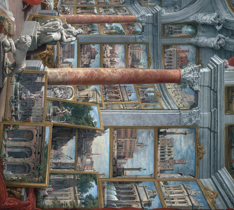 Seamless 2 yards painting: Picture Gallery with Views of Modern Rome by Giovanni Paolo Pannini
