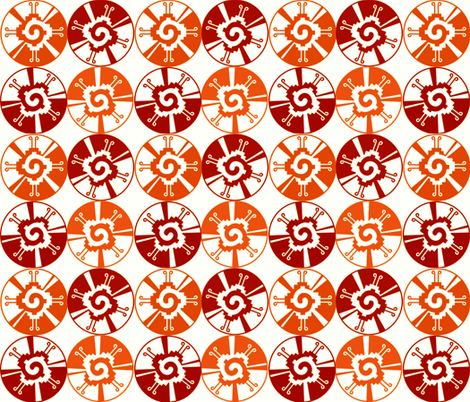 BURNT ORANGE AZTEC WHEELS fabric by bluevelvet on Spoonflower - custom fabric