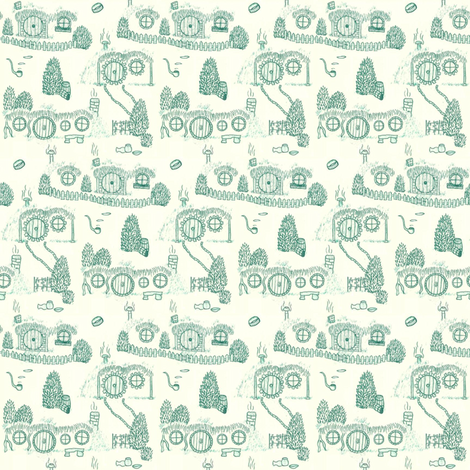Green Shire Toile fabric by spikymammal on Spoonflower - custom fabric