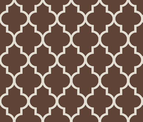 Cream and Chocolate Ogee fabric by sparrowsong on Spoonflower - custom fabric